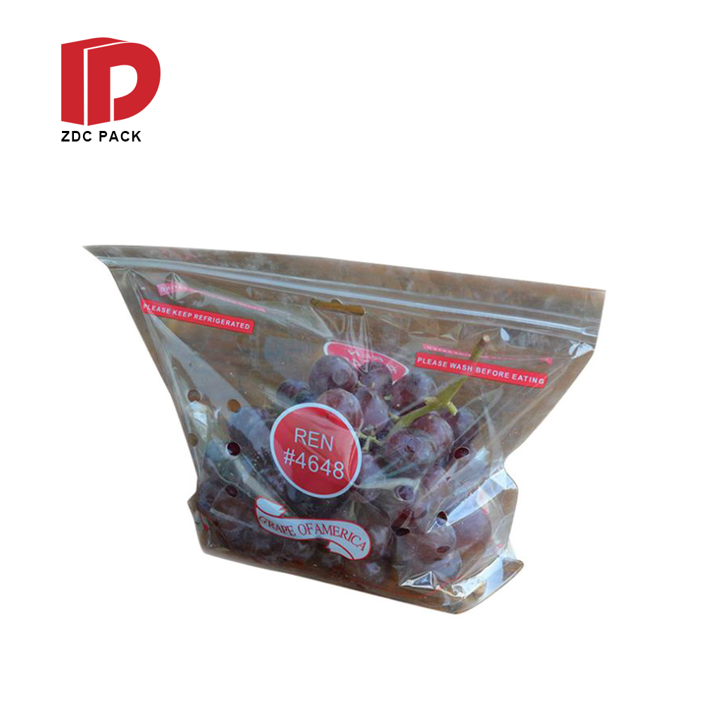 Recycle Fruit Bag Custom Printing Surface Plastic Packaging Grape Bag With Vent Hole