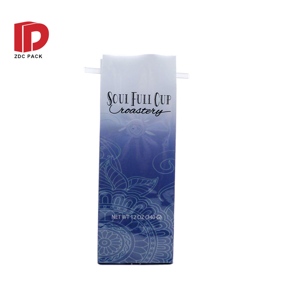 Resealable recycle flat bottom coffee packaging bags with valve