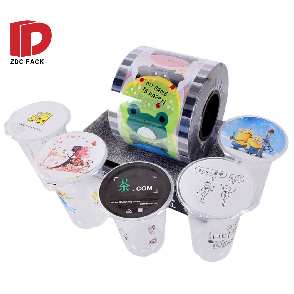 Custom Bubble tea lid sealing plastic film Printing Cup sealing film roll